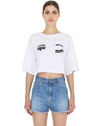 Chiara Ferragni Flirting Printed Cotton Cropped T Shirt