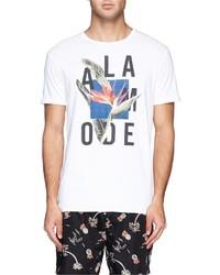 Scotch & Soda Floral Slogan Print Slub Cotton Jersey T Shirt
