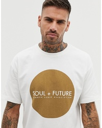Pull&Bear Join Life T Shirt With Circle Print In White