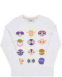 Fendi Monster Print Cotton T Shirt
