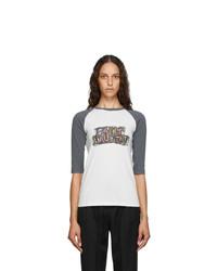 Saint Laurent Off White Logo Baseball T Shirt