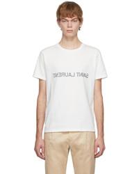 Saint Laurent Off White Reversed Logo T Shirt