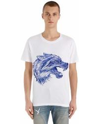Gucci Pen Effect Wolf Printed Jersey T Shirt