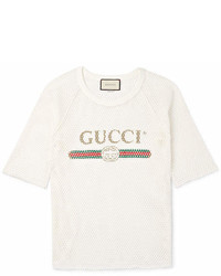 9bf3699c459 Gucci Printed Cotton Jersey T Shirt Out of stock · Gucci Printed Cotton  Mesh T Shirt