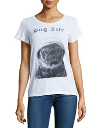 French Connection Pug Life Graphic Tee White