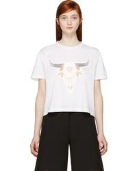 S By S Studio White Bull Skull Print T Shirt