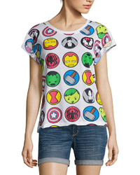 Mighty Fine Short Sleeve Roll Cuff Allover Print Tee Juniors