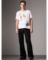 Burberry Sketch Print Cotton T Shirt