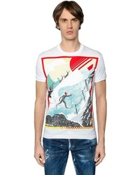 DSQUARED2 Skiing Printed Cotton Jersey T Shirt