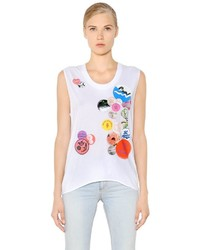 Sleeveless printed cotton jersey t shirt medium 3639614