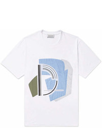 Solid Homme Patchwork Printed Cotton Jersey T Shirt