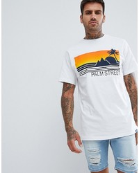 Pull&Bear T Shirt In White With Embossed Print
