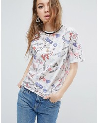 Asos T Shirt With Scribble Print In Oversized Fit