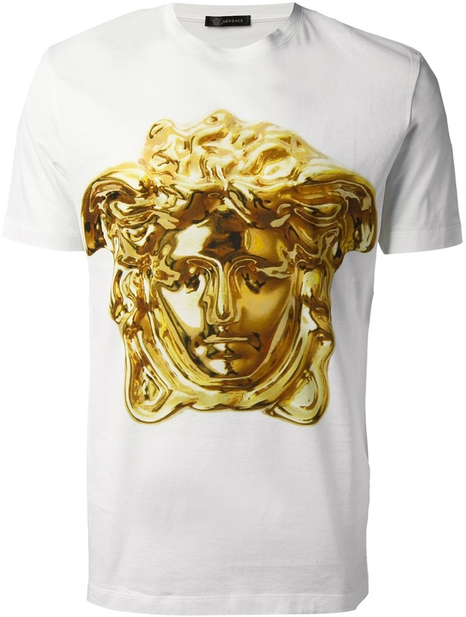 white print crew neck t shirt versace super medusa t shirt where to buy how to wear. Black Bedroom Furniture Sets. Home Design Ideas