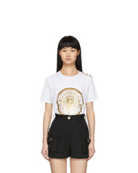 Balmain White 3 Button Coin T Shirt