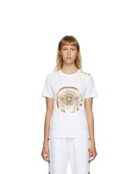 Balmain White 3 Button Coin T Shirt