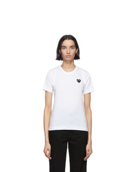 Comme Des Garcons Play White And Black Heart Patch T Shirt