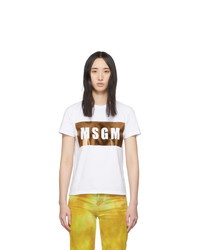 MSGM White And Gold Logo T Shirt