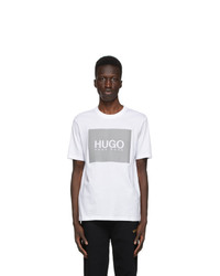 Hugo White And Grey Reflective Logo T Shirt