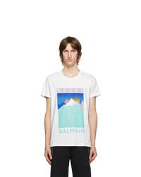 Balmain White And Multicolor Mountain Logo T Shirt