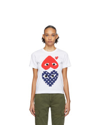 Comme Des Garcons Play White And Red Polka Dot Upside Down Heart T Shirt