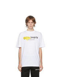 Palm Angels White And Yellow Los Angeles Logo Sprayed T Shirt