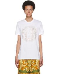 Versace White Embellished Medusa T Shirt