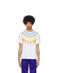 Neil Barrett White Fair Isle Thunderbolt T Shirt