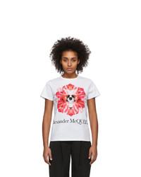 Alexander McQueen White Flower Skull T Shirt