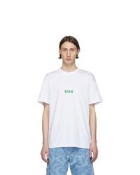 MSGM White Graffiti Logo T Shirt