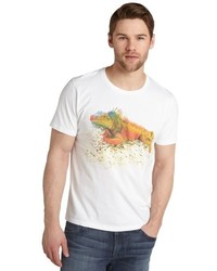 Etro White Iguana Printed Cotton Jersey Crewneck T Shirt