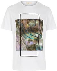 River Island White Iridescent Box Print T Shirt