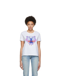 Kenzo White Limited Edition Embroidered Tiger T Shirt