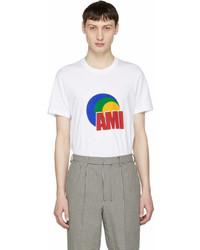 AMI Alexandre Mattiussi White Logo Print T Shirt