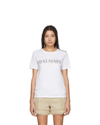 Balmain White Metallic Logo T Shirt