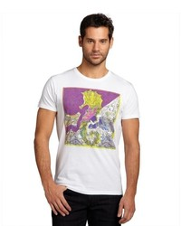 Etro White Paisley Printed Cotton Short Sleeve V Neck T Shirt
