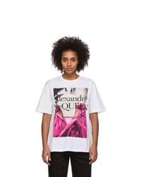 Alexander McQueen White Pink Rose T Shirt