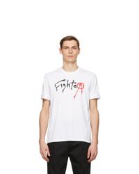Neil Barrett White Print Fighter T Shirt