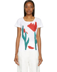 Marni White Red Tulip Painted Print T Shirt
