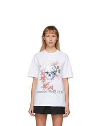 Alexander McQueen White Romantic Skull T Shirt