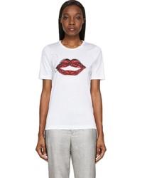 Dsquared2 White Smoking Lips Textured Print T Shirt