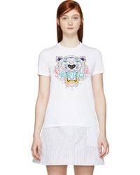 Kenzo White Tiger Print T Shirt