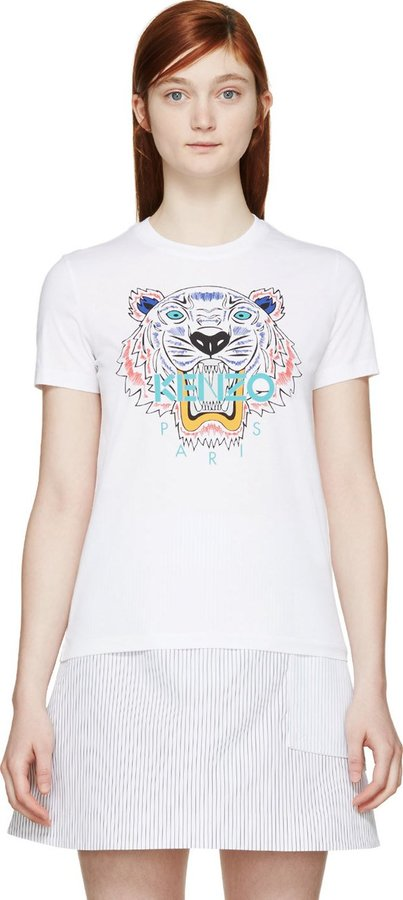 64e7640b2 Kenzo White Tiger Print T Shirt, $135 | SSENSE | Lookastic.com