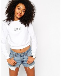 Asos Collection Cropped Sweatshirt With Cluck Off Embroidery