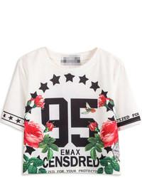Choies 95 Floral Print Crop T Shirt In White