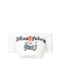 Moschino Bardot Logo Cropped Top