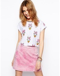 Asos Cropped T Shirt With Daisy Duck Glitter Print Whitepink