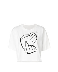 MM6 MAISON MARGIELA Hand Print Cropped T Shirt