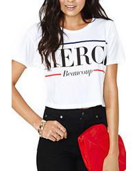Romwe Merci Beaucoup Print White Cropped T Shirt