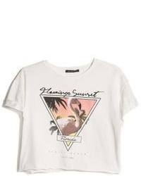 Mango Outlet Printed Cropped T Shirt